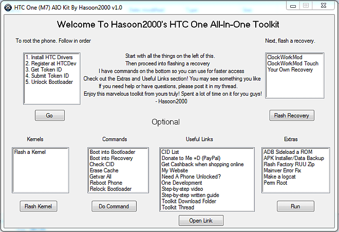 Download HTC One M7 Toolkit- One Click Tool